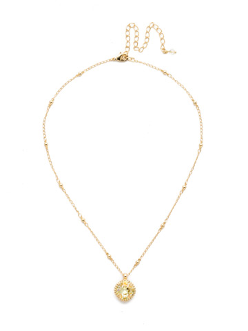 Cushion-Cut Solitaire Necklace in Bright Gold-tone Crystal Champagne