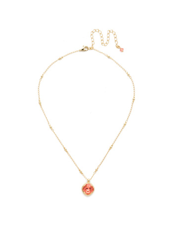 Cushion-Cut Solitaire Necklace in Bright Gold-tone Coral