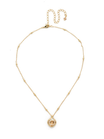 Cushion-Cut Solitaire Necklace in Bright Gold-tone Dark Champagne