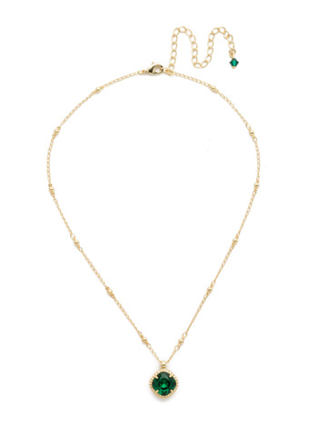 Cushion-Cut Solitaire Necklace in Bright Gold-tone Emerald