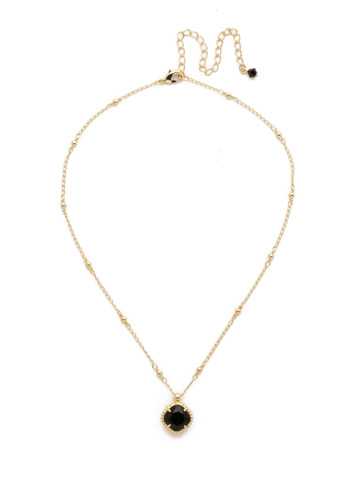 Cushion-Cut Solitaire Necklace in Bright Gold-tone Jet