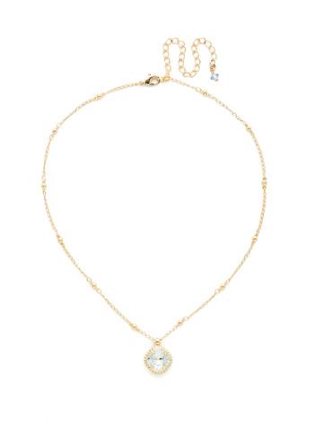 Cushion-Cut Solitaire Necklace in Bright Gold-tone Light Aqua