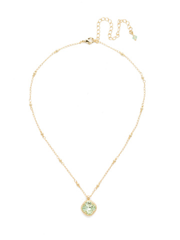 Cushion-Cut Solitaire Necklace in Bright Gold-tone Mint
