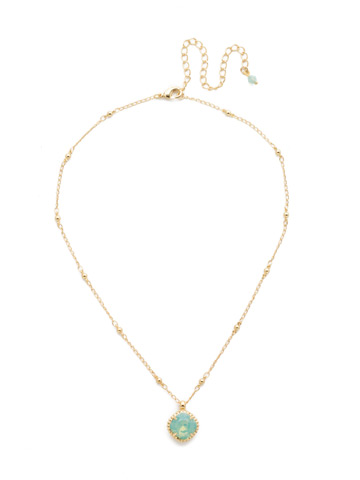 Cushion-Cut Solitaire Necklace in Bright Gold-tone Pacific Opal