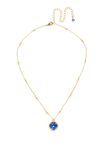 Cushion-Cut Solitaire Necklace in Bright Gold-tone Sapphire