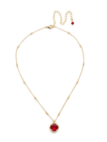 Cushion-Cut Solitaire Necklace in Bright Gold-tone Siam