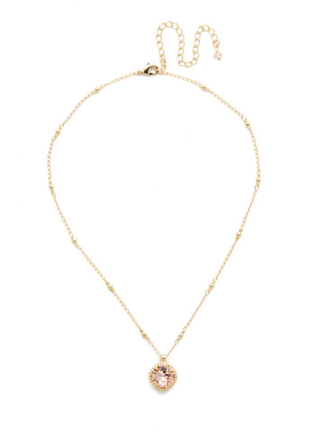 Cushion-Cut Solitaire Necklace in Bright Gold-tone Vintage Rose