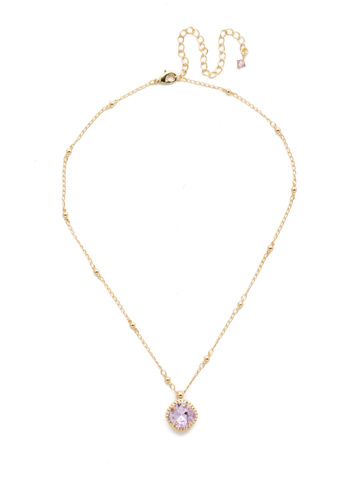 Cushion-Cut Solitaire Necklace in Bright Gold-tone Violet