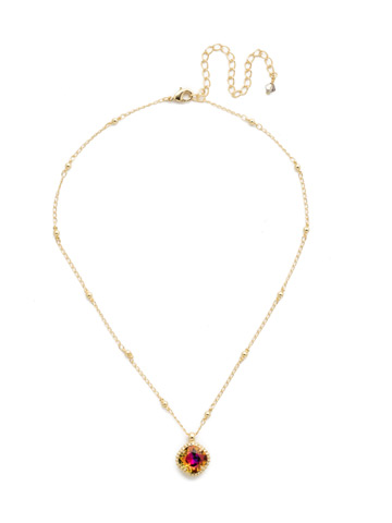 Cushion-Cut Solitaire Necklace in Bright Gold-tone Volcano