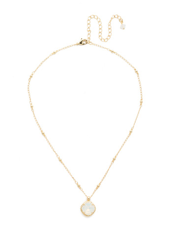 Cushion-Cut Solitaire Necklace in Bright Gold-tone White Opal