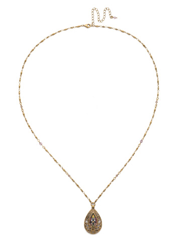 Cosmos Necklace in Antique Gold-tone Royal Plum