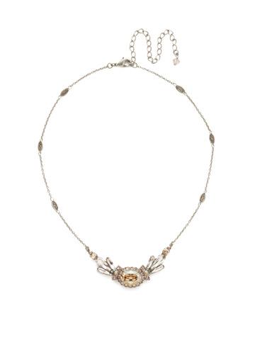 Viola Pendant Necklace in Antique Silver-tone Satin Blush