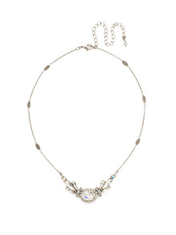 Viola Pendant Necklace in Antique Silver-tone White Bridal