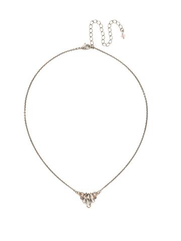 Sedum Pendant Necklace in Antique Silver-tone Satin Blush