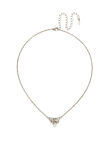 Sedum Pendant Necklace in Antique Silver-tone White Bridal