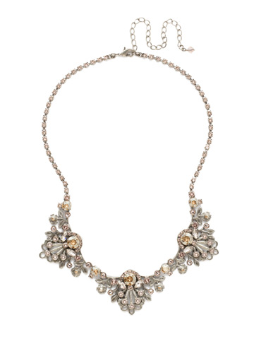 Linden Statement Necklace in Antique Silver-tone Satin Blush