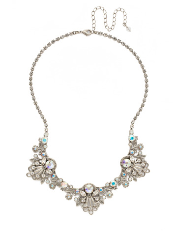 Linden Statement Necklace in Antique Silver-tone White Bridal