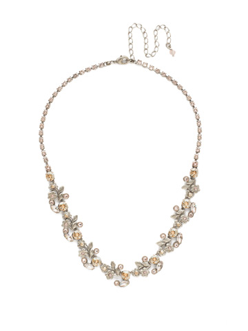 Linden Necklace in Antique Silver-tone Satin Blush