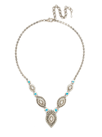 Moonflower Statement Necklace in Antique Silver-tone White Bridal