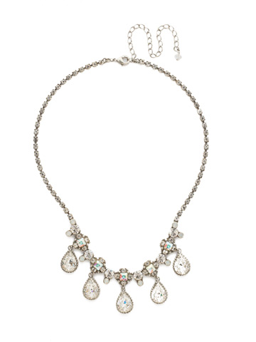 Posey Statement Necklace in Antique Silver-tone White Bridal