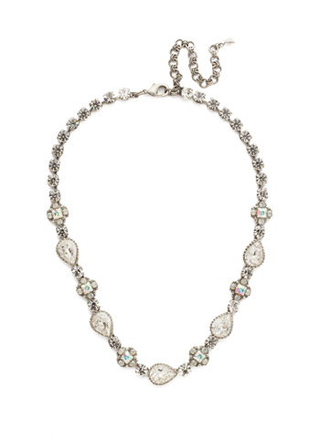 Posey Line Necklace in Antique Silver-tone White Bridal