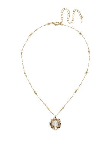 Allium Necklace in Antique Gold-tone White Magnolia