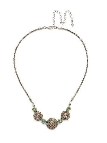 Snapdragon Necklace in Antique Silver-tone Lilac Pastel