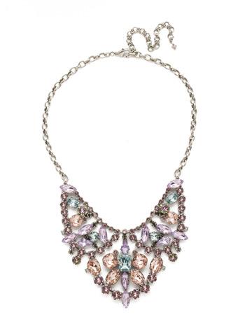 Azalea Necklace in Antique Silver-tone Lilac Pastel