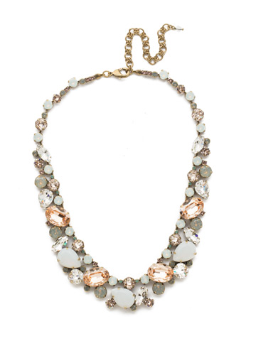 Bluebell Necklace in Antique Gold-tone White Magnolia