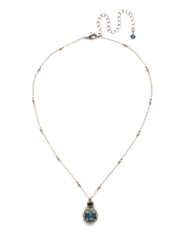 Embellished Rivoli Necklace in Antique Silver-tone Glory Blue
