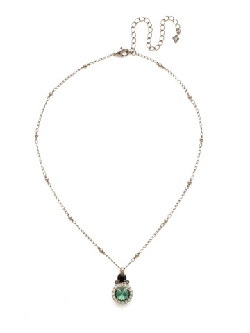 Embellished Rivoli Necklace in Antique Silver-tone Game Day Green
