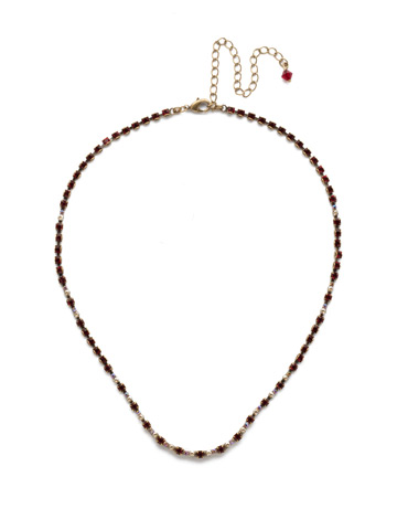 The Skinny Necklace in Antique Gold-tone Go Garnet