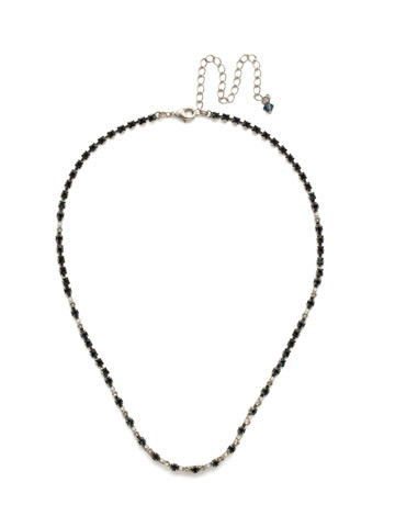 The Skinny Necklace in Antique Silver-tone Glory Blue