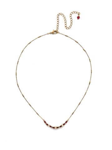 The Skinny Mini Necklace in Antique Gold-tone Go Garnet