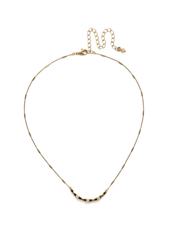The Skinny Mini Necklace in Antique Gold-tone Mighty Maroon