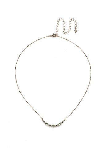 The Skinny Mini Necklace in Antique Silver-tone Game Day Green