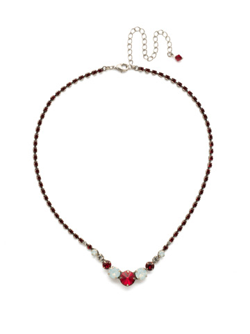 Round Up Necklace in Antique Silver-tone Crimson Pride
