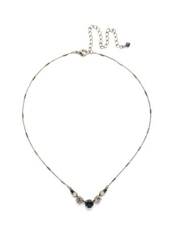 Gemini Necklace in Antique Silver-tone Glory Blue