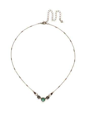 Gemini Necklace in Antique Silver-tone Game Day Green
