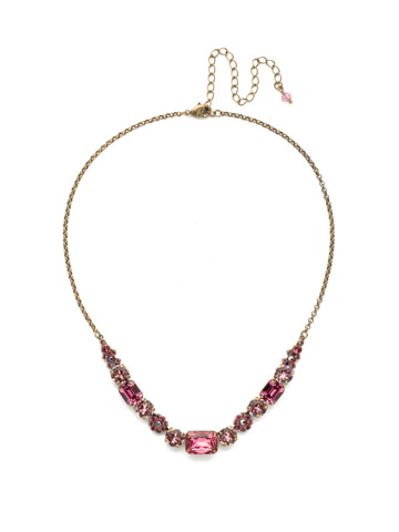 Dietes Necklace in Antique Gold-tone Pink Passion