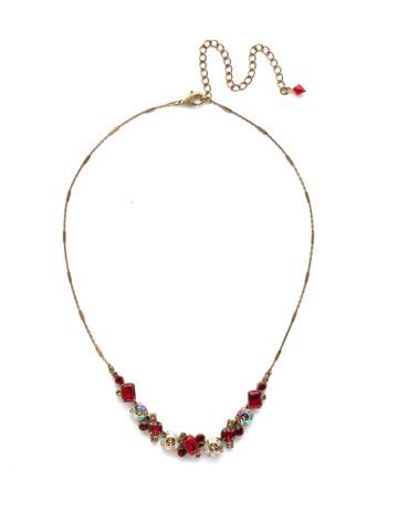 Datura Necklace in Antique Gold-tone Go Garnet