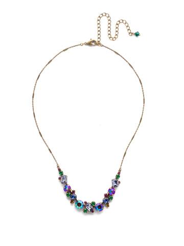 Datura Necklace in Antique Gold-tone Game of Jewel Tones