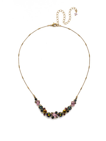 Datura Necklace in Antique Gold-tone Royal Plum