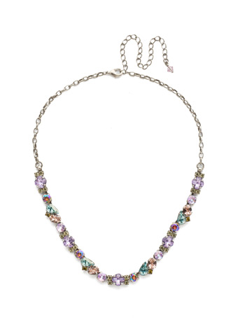 One-of-a-Kind Necklace in Antique Silver-tone Lilac Pastel