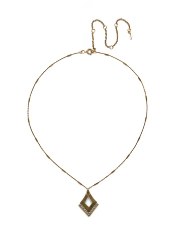 Tri To Love Necklace in Antique Gold-tone Crystal