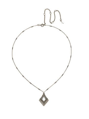 Tri To Love Necklace in Antique Silver-tone Crystal