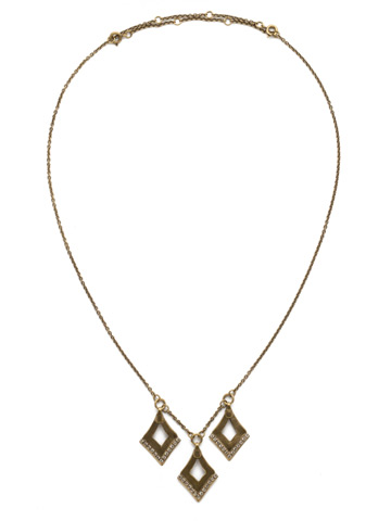 Love Tri-Angle Necklace in Antique Gold-tone Crystal