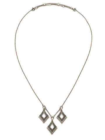 Love Tri-Angle Necklace in Antique Silver-tone Crystal