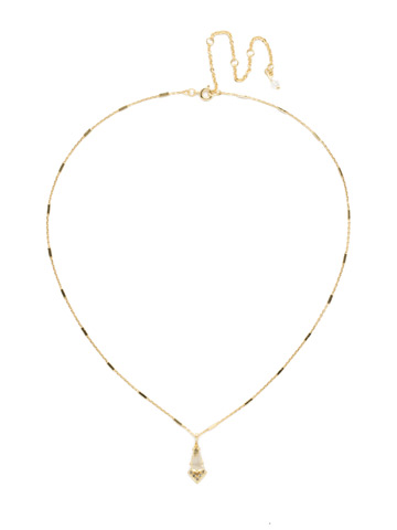 Pointed South Necklace in Bright Gold-tone Crystal