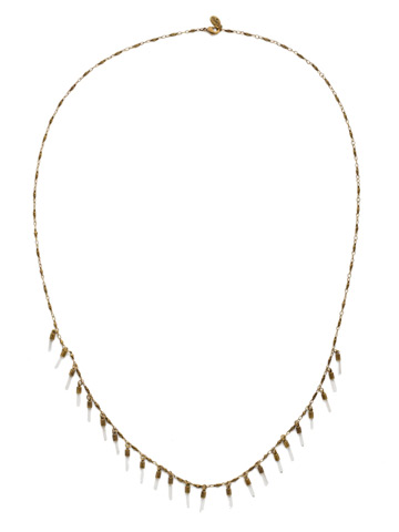 Dangling Medallions Necklace in Antique Gold-tone Crystal